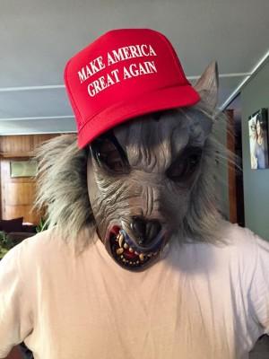 The author, on Halloween. Trump Monster.