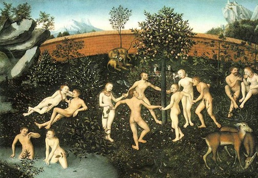 As you contemplate The Golden Age by Lucas Cranach, the Elder, 1530, try to imagine the theme from All in the Family playing in the background. Better yet, open the link in another window, minimize it, and then contemplate the painting as the song plays.