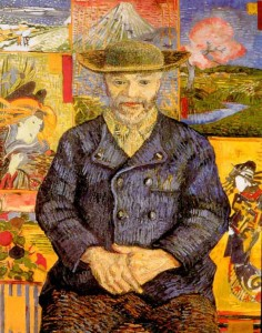 Van Gogh portrait of Pere Tanguy, 1887, in front of Van Gogh's collection of Japanese prints