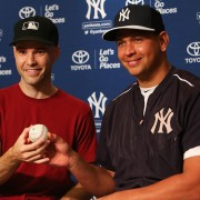 Zack and A-Rod holding the ball. Photo courtsey Zach Hample and MLBlogs.