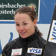 American ski jumper Lindsey Van at the flower ceremony after the Continental Cup competition in Baiersbronn 2009.Photo: Jeses via Wikipedia.