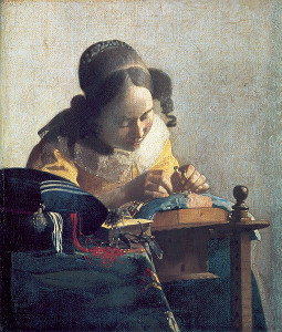 Johannes Vermeer, The Lacemaker, ca 1669. Image courtesy of the Louvre.