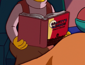 The first edition of Gravity's Rainbow even makes a cameo on The Simpsons