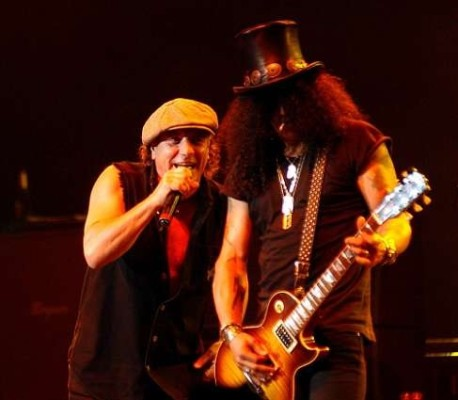 Brian Johnson and Slash