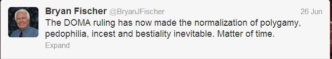 Bryan Fischer Tweet 6_26_13