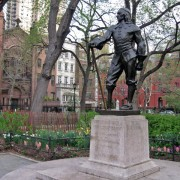 Peter Stuyvesant's statue standing guard over the meeting of doppelgangers.