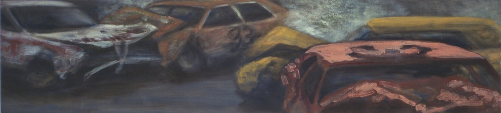 Jane Dickson, Demo Derby Pink Car, 1987, oil on canvas.