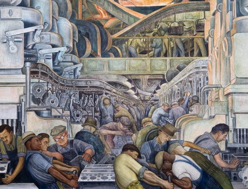 Detroit Industry, north wall (detail),Diego Rivera, 1932-33, fresco. Detroit Institute of Arts