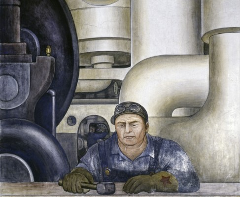 Detroit Industry, west wall (detail) worker with red star on glove. Diego Rivera, 1932-33, fresco. Detroit Institute of Arts