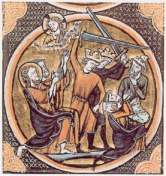 Crusaders slaughtering Jews in the First Crusade.