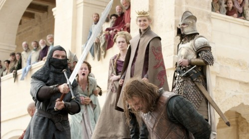 Game of Thrones: the execution of Ned Stark (l. to r. Sophie Turner, Lena Headey, Jack Gleeson, Sean Bean)