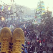 View of the protest from Roman's apartment (those are his shoes).