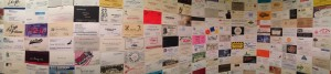Hample's bathroom wall, photographed by the author while urinating