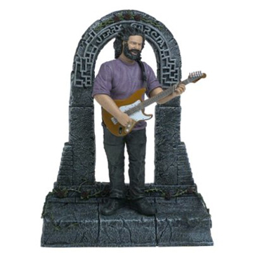 What's not to be Greatful for? This Jerry Garcia action figure, idealized with zero paunch and wearing skinny hipster jeans- like a bodybuilding Kris Kristofferson- stands before the gates of Mordor. Placed on the mantel with a bearclaw and a Ziploc of China White it makes an instant altar.