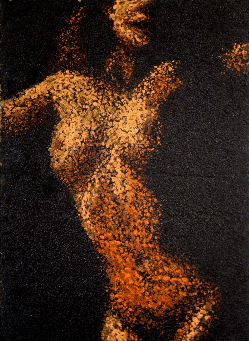 """Live Girls  28"" by Jane Dickson, 1994. Oilstick and tar on wood."