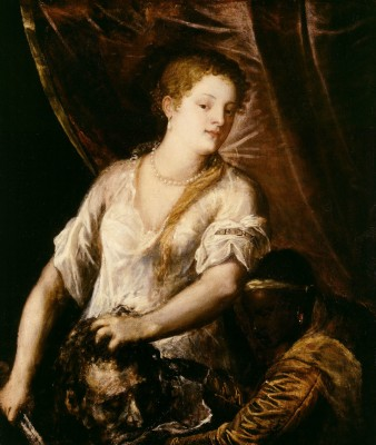 Judith with the Head of Holofernes, Titian, ca. 1570, oil on canvas. Detroit Institute of Arts