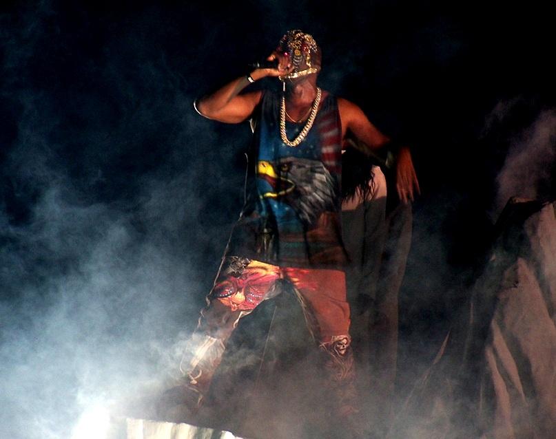 Kanye West performing, Yeezus tour