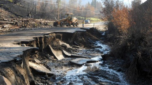 Damage on road from Twisp to Pateros caused by flooding in wake of the fires