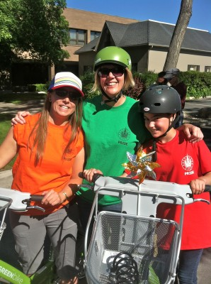 Holly, Lisa and Kenzie prepare to ride in Salt Lake City's Pride Parade