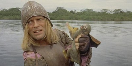 Aguirre and monkey on the Amazon