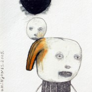 "Barely  Survivng-, 2005 8 1/2"" x 5 1/2""  graphite, colored pencil on paper"