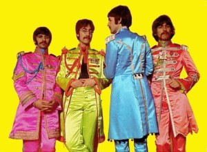 Somehow in rainbow colored satin, the Beatles military regalia looks less war-mongering.