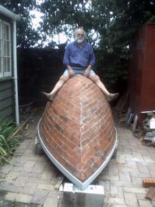 Potter Peter Lange and his (potentially) sinking brick boat...