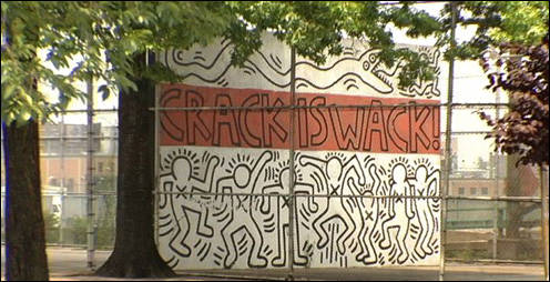 Keith Haring's Harlem billboard originally painted in 1986.