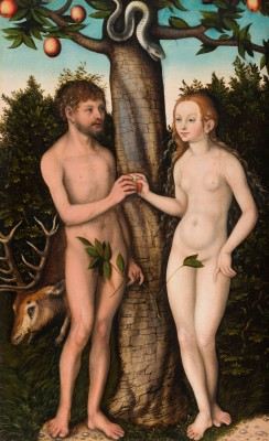 Adam and Eve, Lucas Cranach the Elder, 1528, oil on wood panel (transferred), Detroit Institute of Arts.