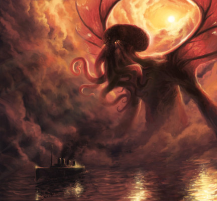 Cthulhu looks for donuts on a passing cruise ship.