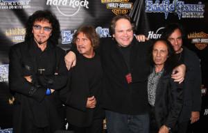 (l-r) Tony Iommi, Geezer Butler, Eddie Trunk, Ronnie James Dio, Vinny Appice