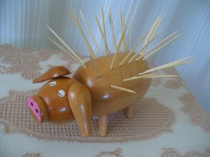 Vintage pig toothpick holder. (Seller: BigAlsKollects)