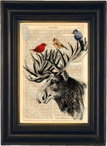 Moose head with colorful birds print on vintage upcycled page (Seller: ForgottenPages)
