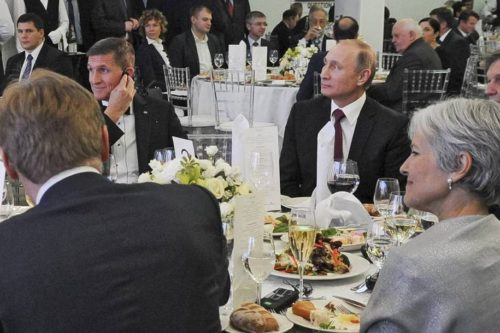 Michael Flynn, Vladimir Putin, and Jill Stein at a dinner party in Moscow.
