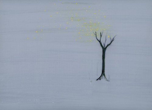 """Astrid Cravens, Ginko tree for JonLee, 2013. Inks and casein on paper, 14"""" x 10"""", all images courtesy of the artist."""