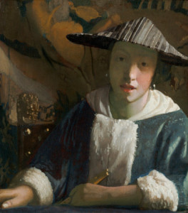 Attributed to Johannes Vermeer (Dutch, 1632 - 1675 ), Girl with a Flute, probably 1665/1670, oil on panel, Widener Collection, Courtesy National Gallery of Art.