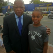 The grandson with Congressman and Civil Rights pioneer John Lewis at 2012 Democratic National Convention