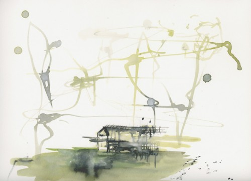 """Astrid Cravens, House 2012. Inks and casein on paper, 12"""" x 9"""", courtesy of the artist."""