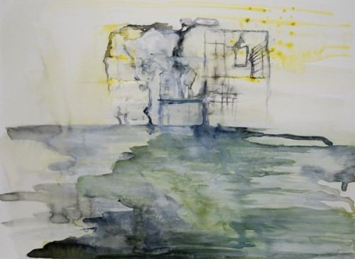 """Astrid Cravens, Houses 2012. Inks and casein on paper, 12"""" x 9"""", courtesy of the artist."""