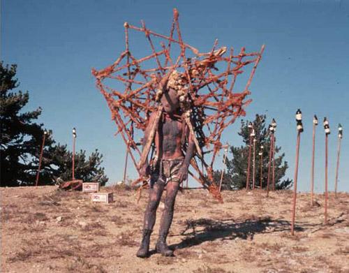 "Kim Jones as ""Mudman,"" October 1975, October Fest, Mt. Pinos, CA documentation of a performance, Courtesy of Kim Jones and Pierogi Gallery"