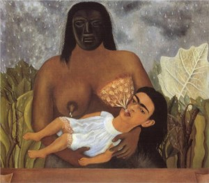 "Frida Kahlo, My Nurse and I, 1937 – about which she said: ""I am in my nurse's arms, with the face of a grownup woman and the body of a little girl, while milk falls from her nipples as if from the heavens."""