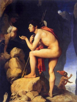 Oedipus & the Sphinx in their battle of wits. (Ingres)