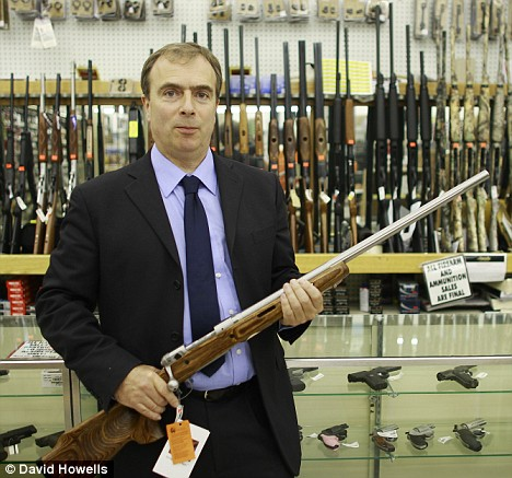 If you can't trust Peter HItchens with the internet, what about a gun? Photo by David Howells and the Daily Mail