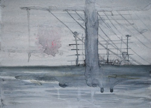 """Astrid Cravens, Powerlines, 2011 Inks, graphite, and casein on paper, 16"""" x 12"""", courtesy of the artist."""