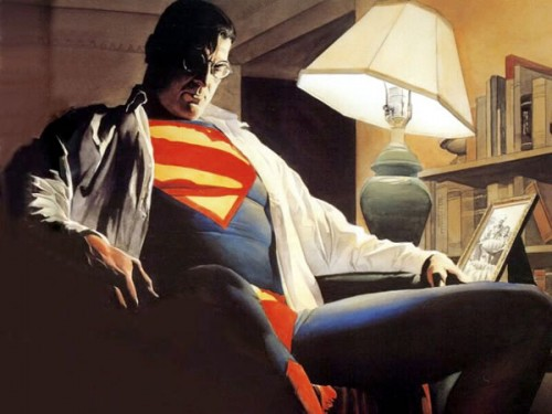 A pensive, aging superhero. Illustration by Alex Ross.