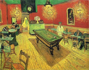"""Van Gogh's Night Cafe, of which Vincent Van G himself said: """"the café is a place where one can ruin himself, go mad, commit crimes."""""""