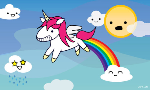 unicorn pooping a rainbow (art from www.20px.com)